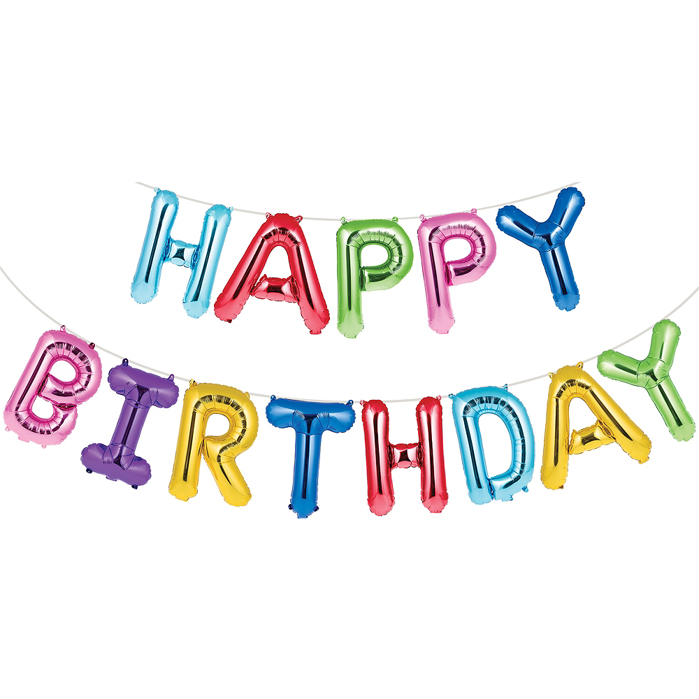 Nav Item for Multicolored Happy Birthday Balloon Banner Image #1