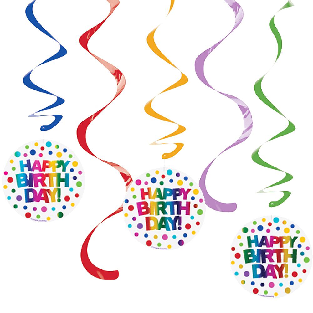 Rainbow Happy Birthday Swirl Decorations 5ct Image #1