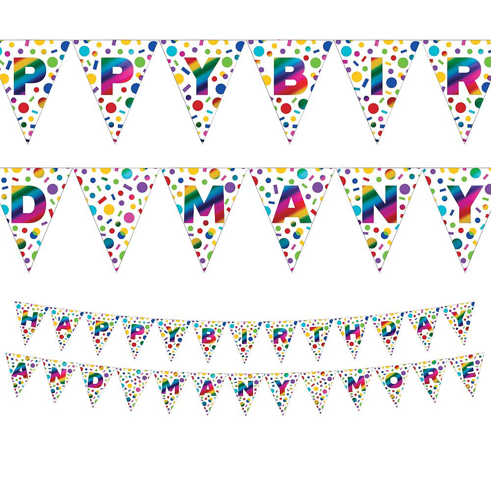 Metallic Rainbow Happy Birthday Pennant Banner Image #1