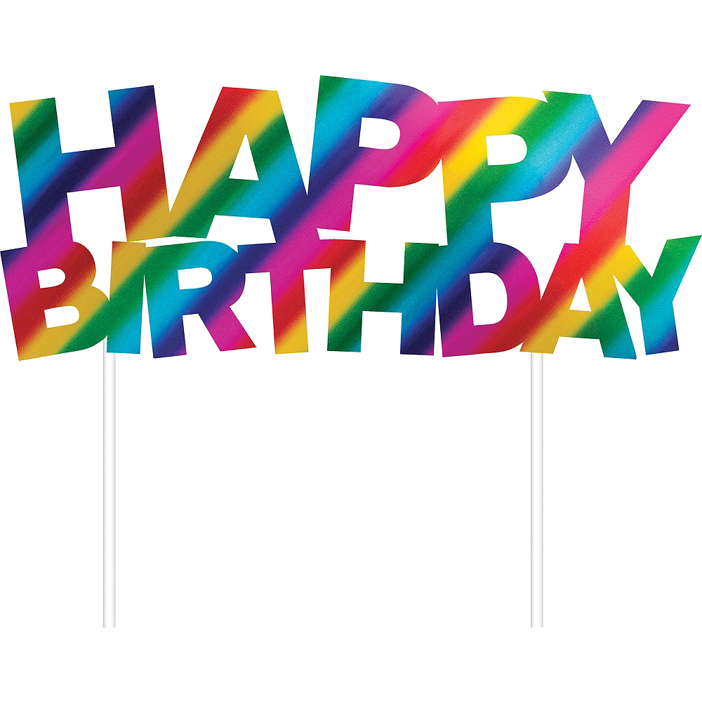 Metallic Rainbow Happy Birthday Cake Topper Image #1