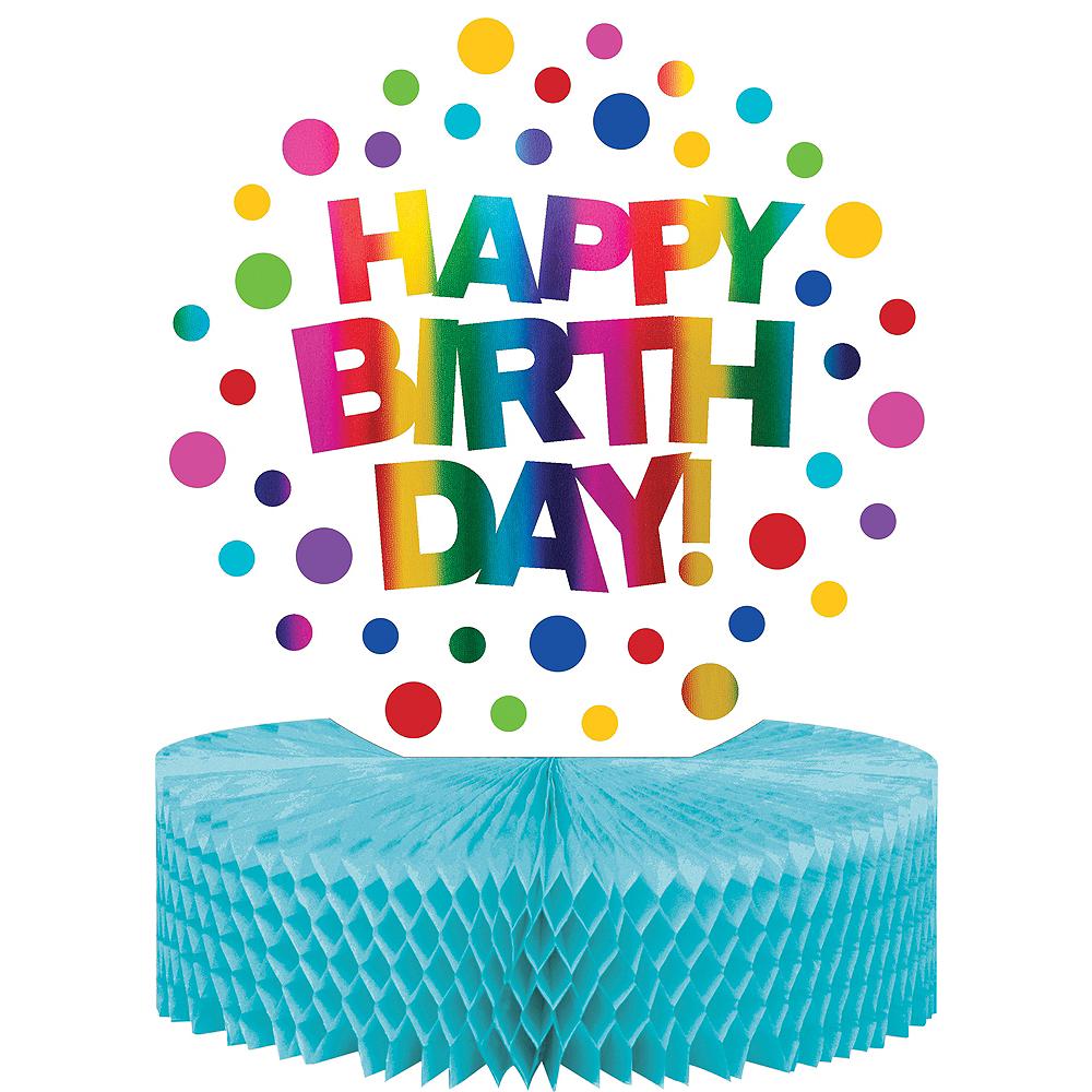 Metallic Rainbow Happy Birthday Honeycomb Centerpiece Image #1