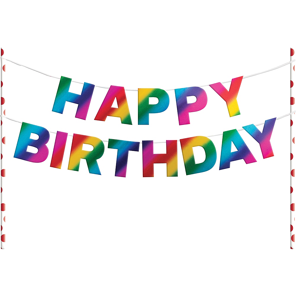 Metallic Rainbow Happy Birthday Banner Cake Topper Image #1