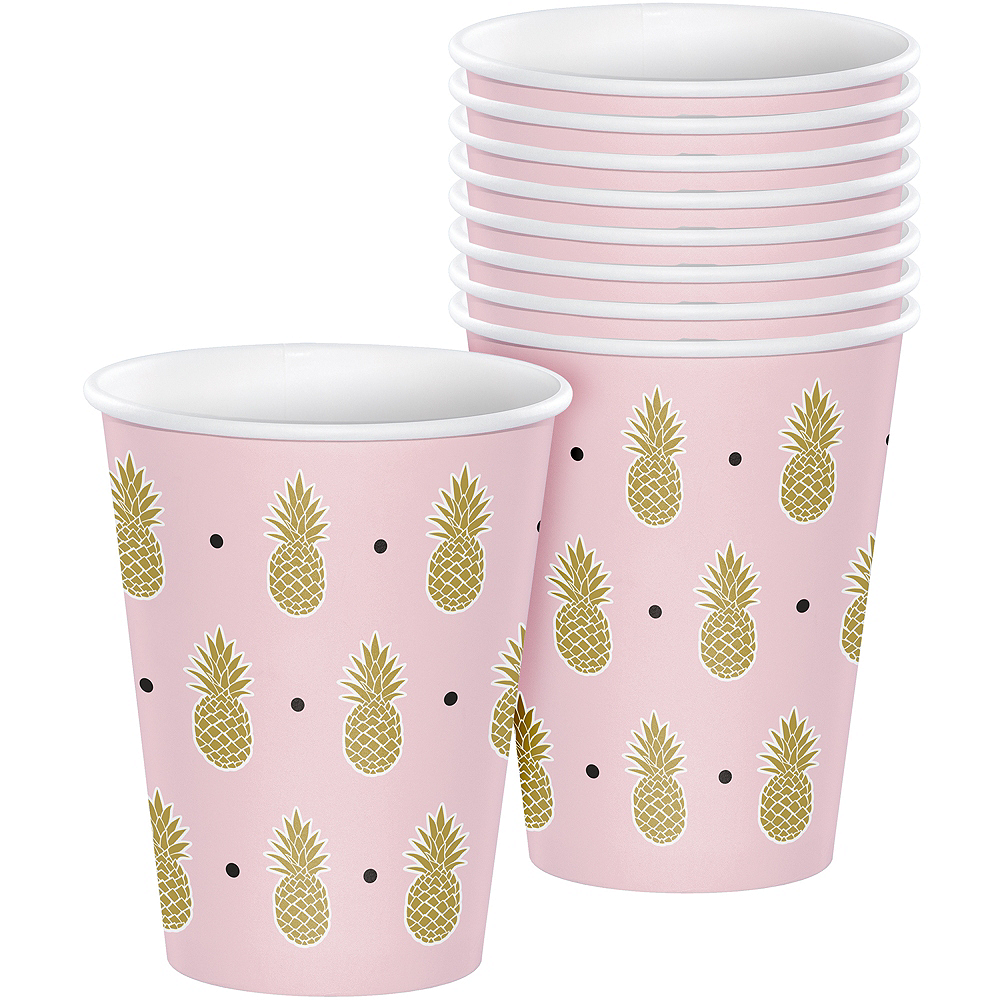 Metallic Gold Pineapple Cups 8ct Image #1