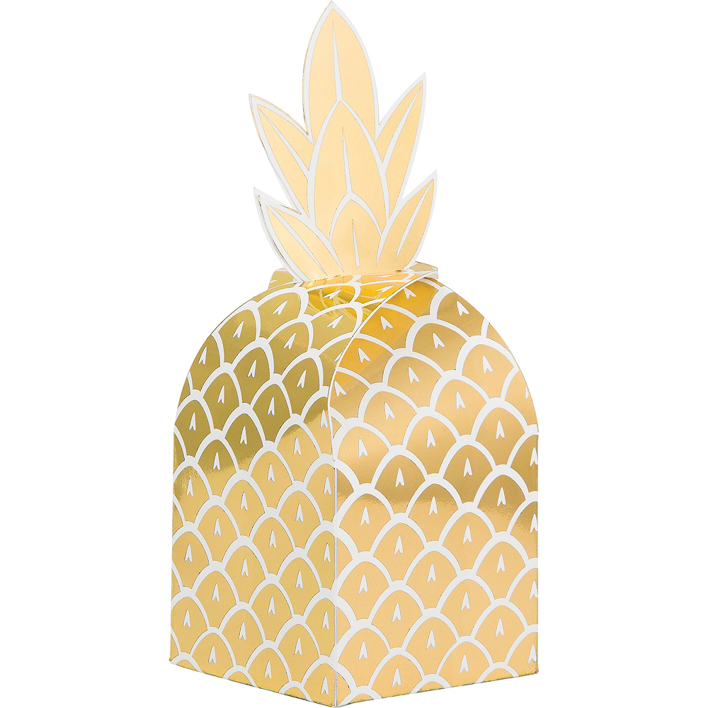 Metallic Gold Pineapple Favor Boxes 8ct Image #1