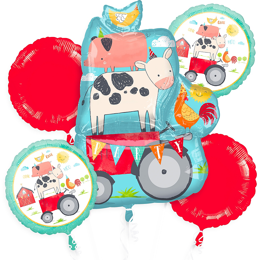 Nav Item for Friendly Farm Balloon Bouquet 5pc Image #1