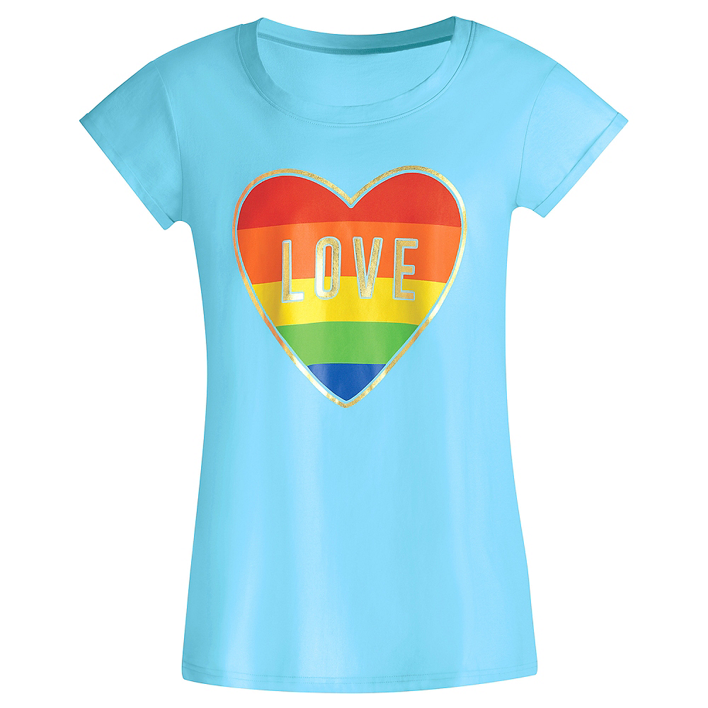 Adult Rainbow Heart Love Sleep Shirt Image #1