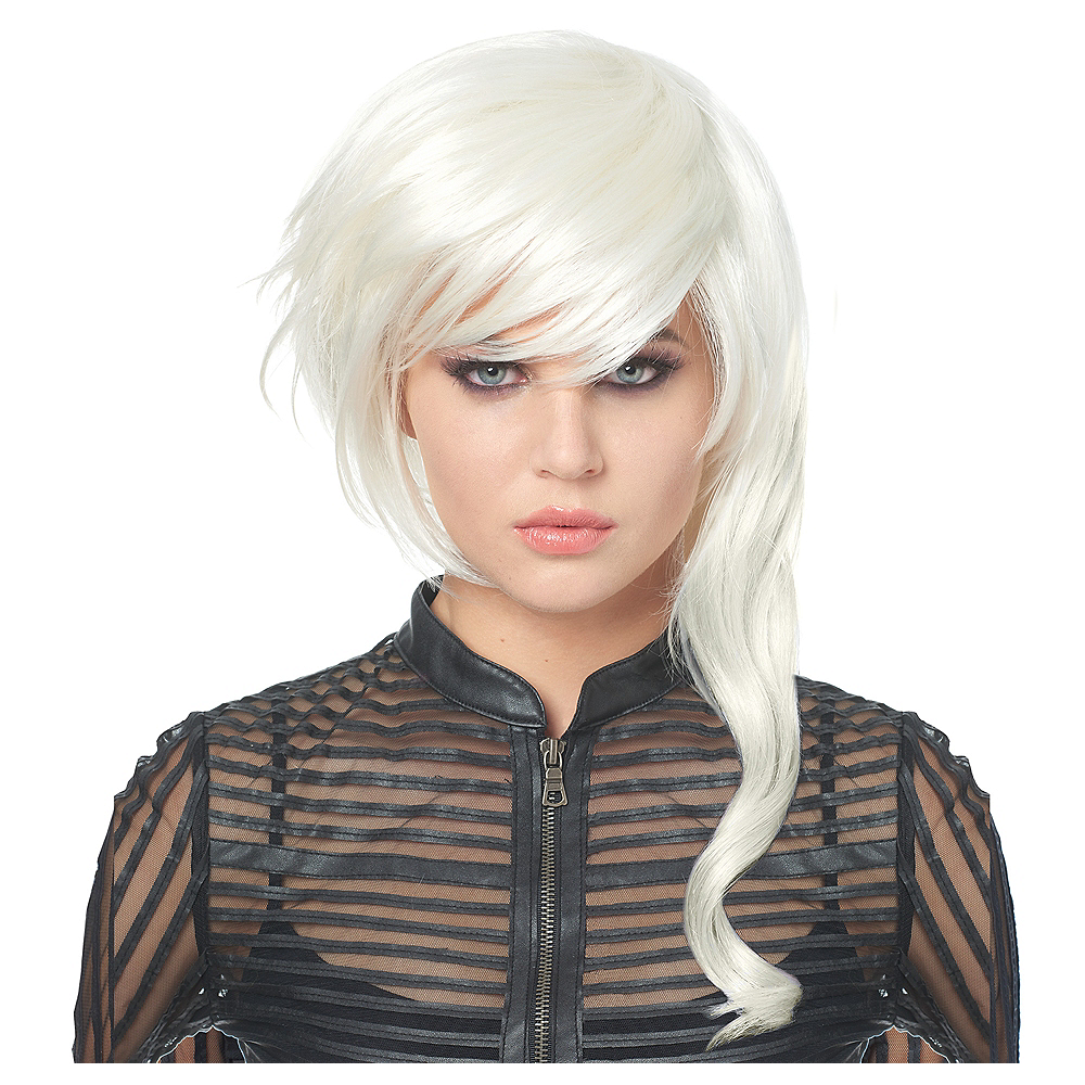 Nav Item for White Asymmetrical Wig Image #1