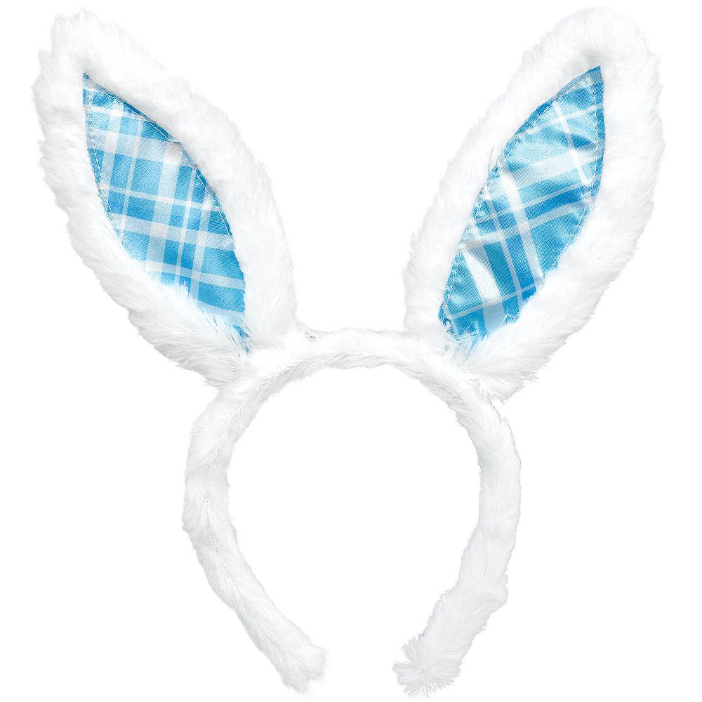 Blue Plaid Bunny Ears Headband Image #1