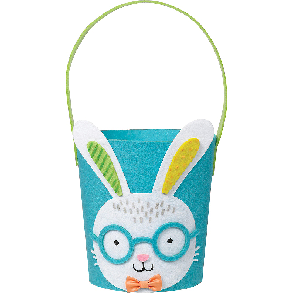 Blue Felt Easter Bunny Favor Bucket Image #1