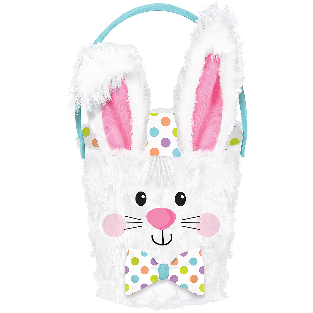 Plush Polka Dot Bunny Easter Basket Image #1
