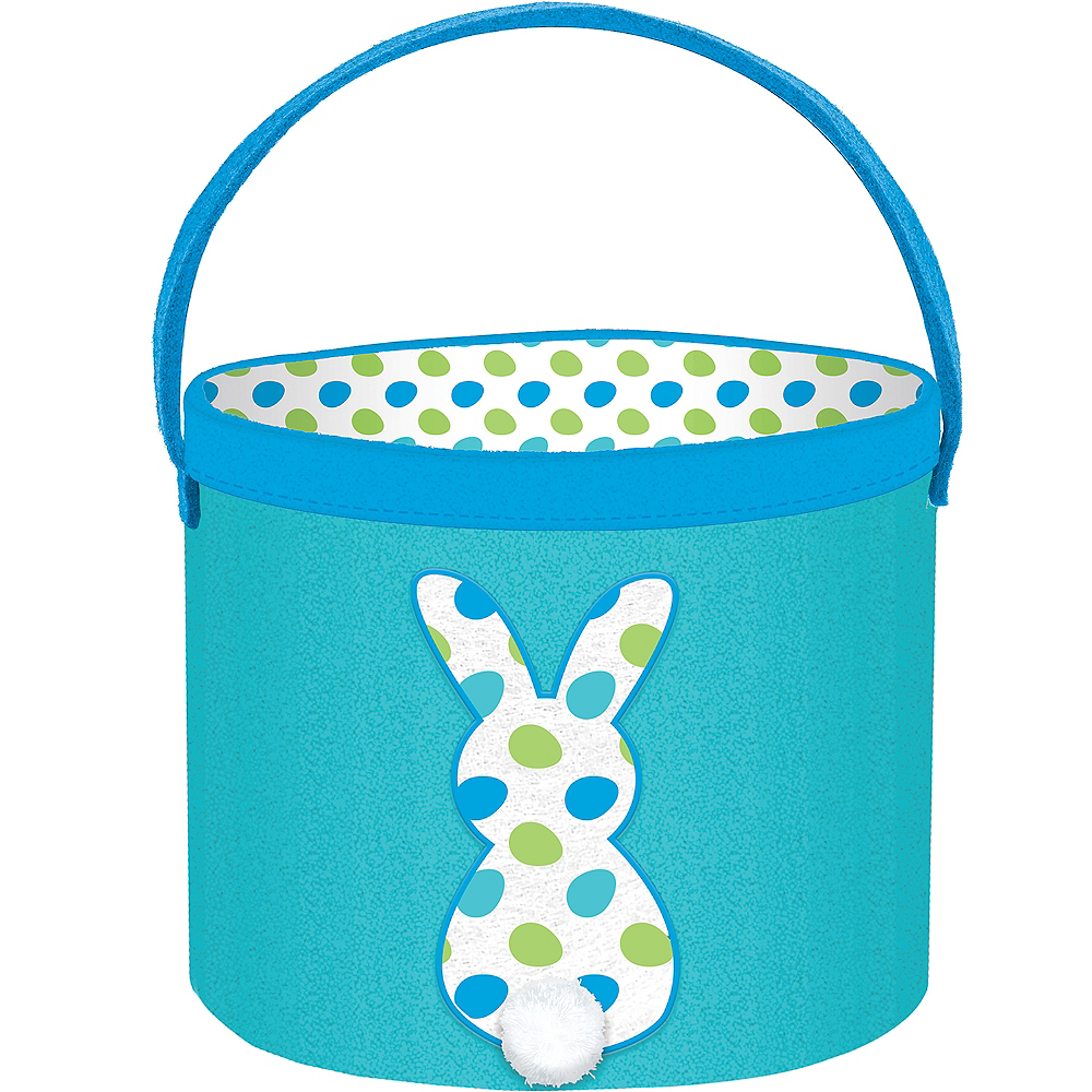 Canvas Blue Bunny Easter Bucket Image #1