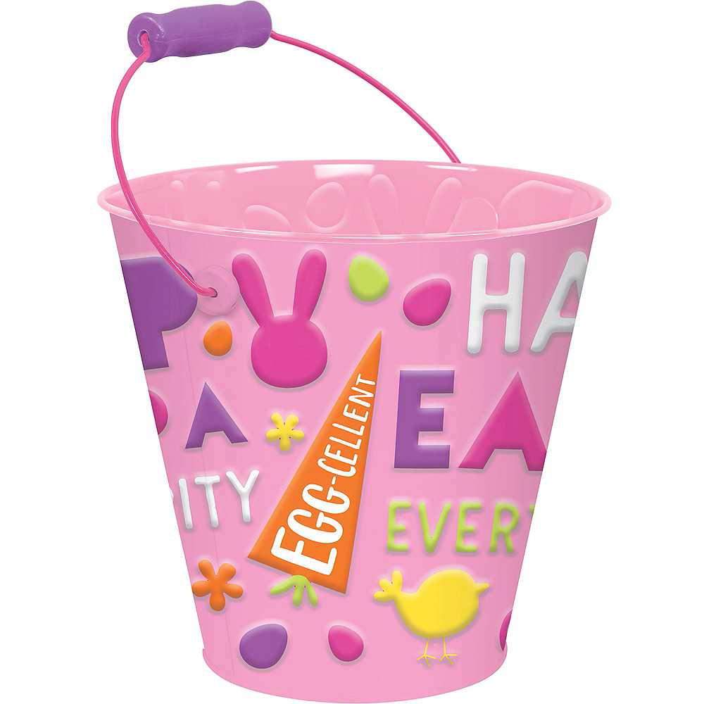 Pink Happy Easter Metal Pail Image #1