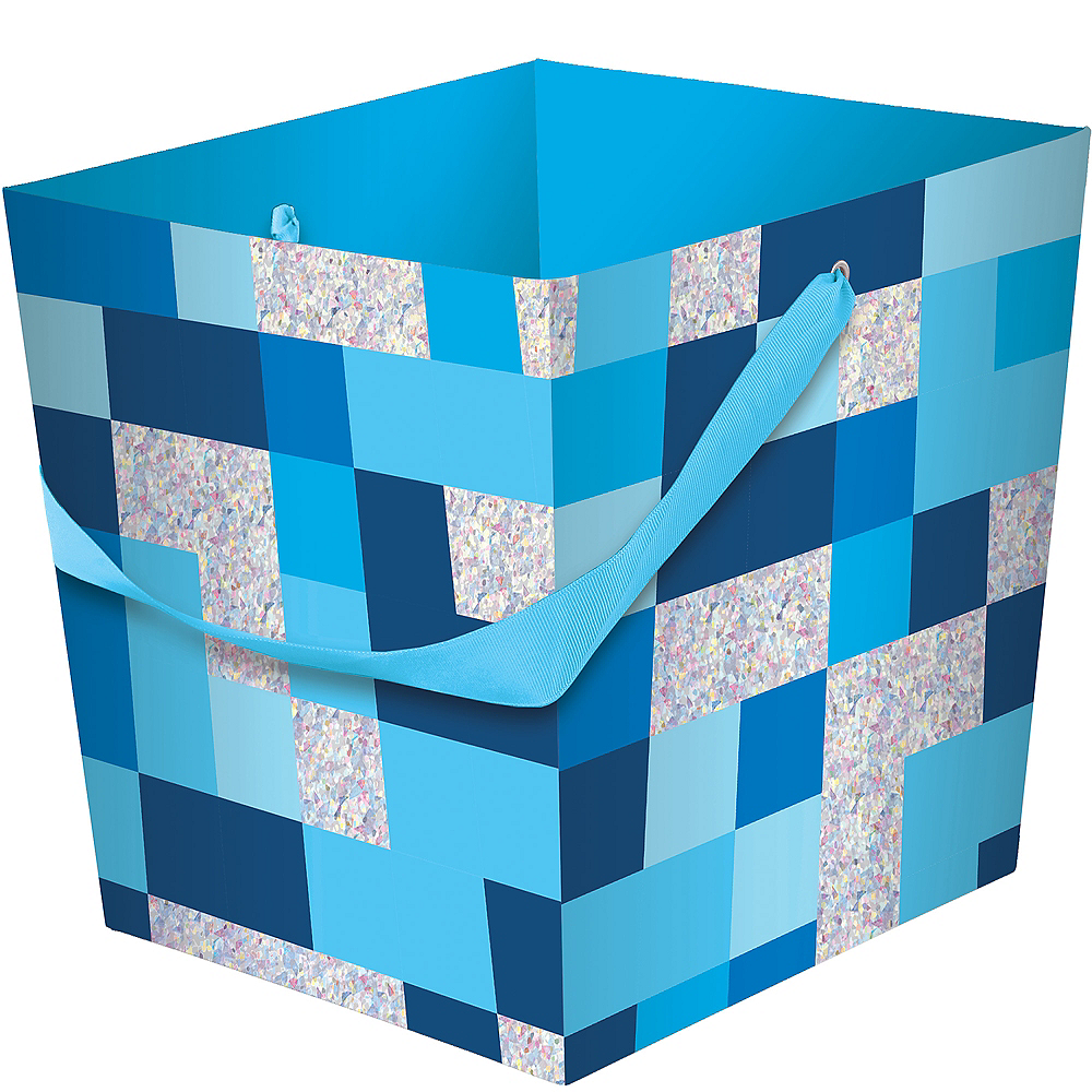 Blue Pixelated Easter Basket Image #1