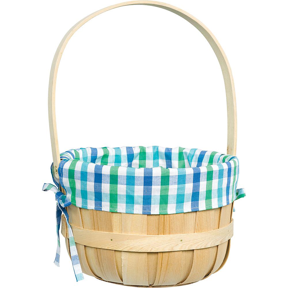 Round Blue Plaid Liner Easter Basket Image #1
