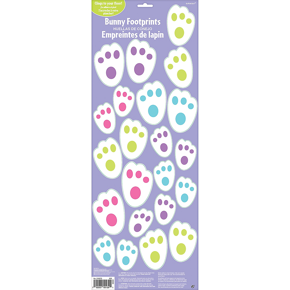 Easter Bunny Footprint Cling Decals 22ct Image #1
