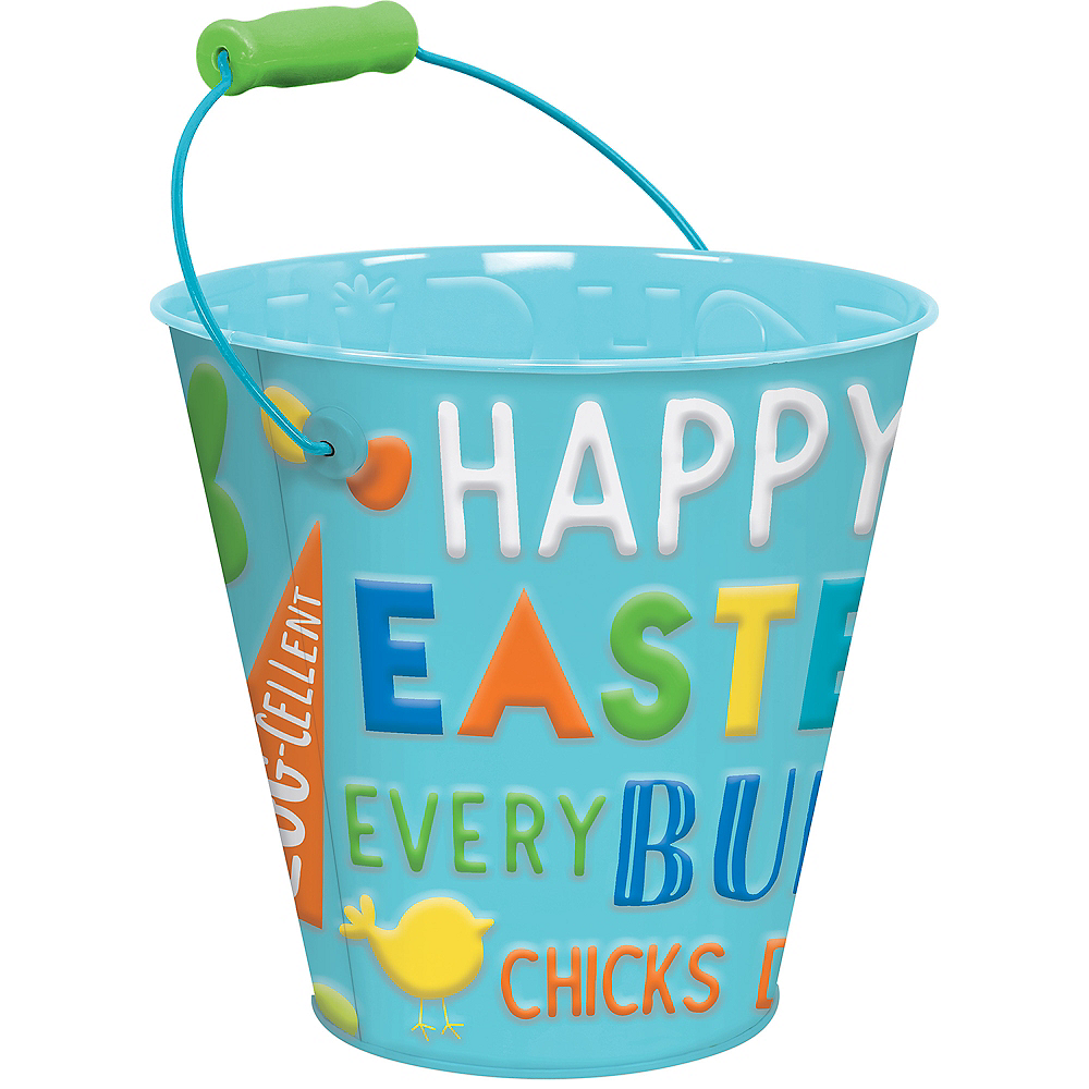 Blue Happy Easter Metal Pail Image #1