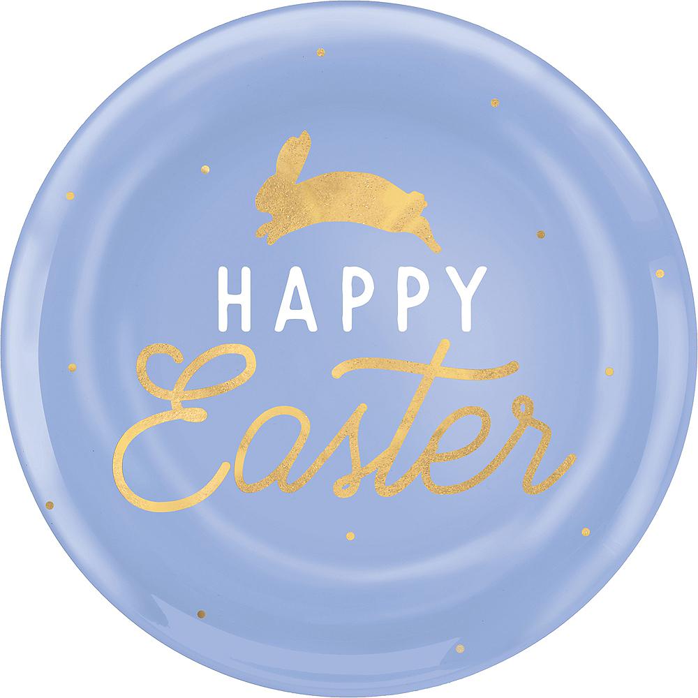 Pastel Blue Happy Easter Plastic Dinner Plates 10ct Image #1