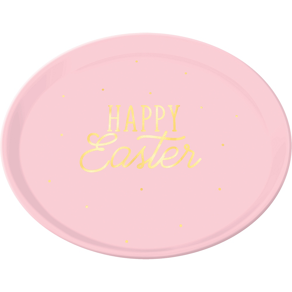 Pink Happy Easter Round Platter Image #1