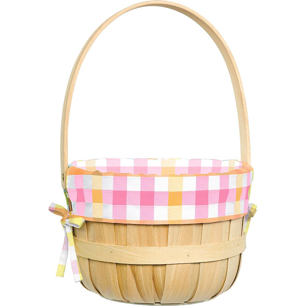 Round Pastel Plaid Liner Easter Basket Image #1