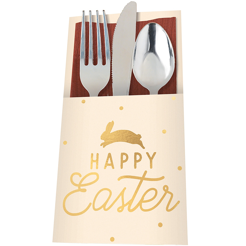 Happy Easter Cutlery Holders 12ct Image #1