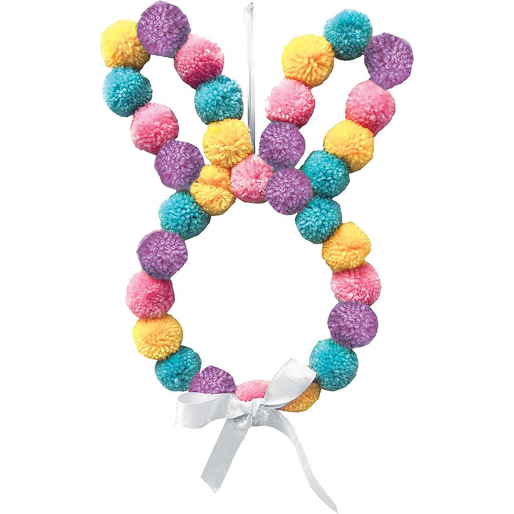 Easter Bunny Pom-Pom Wreath Image #1