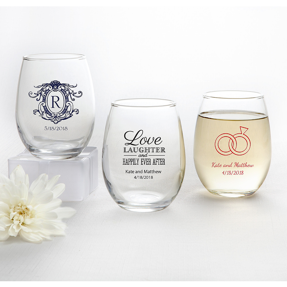 Personalized Wedding Stemless Wine Glasses 9oz (Printed Glass) Image #1