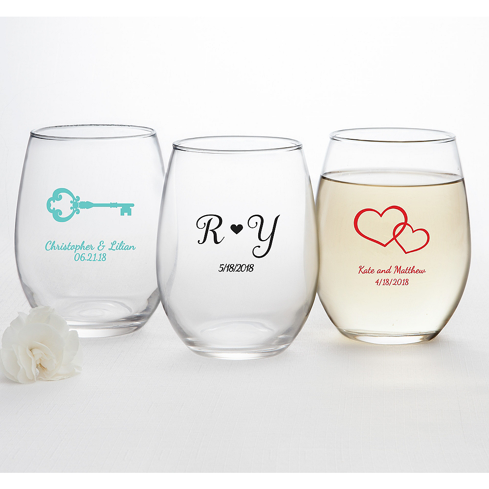 Personalized Wedding Stemless Wine Glasses 15oz Printed Glass