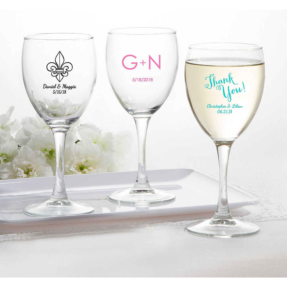 Personalized Wedding Wine Glasses (Printed Glass) Image #1