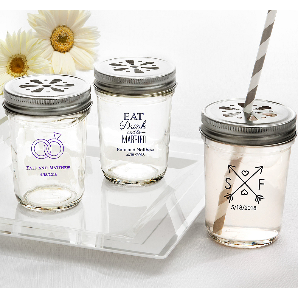 Personalized Wedding Mason Jars with Daisy Drink Lids (Printed Glass) Image #1