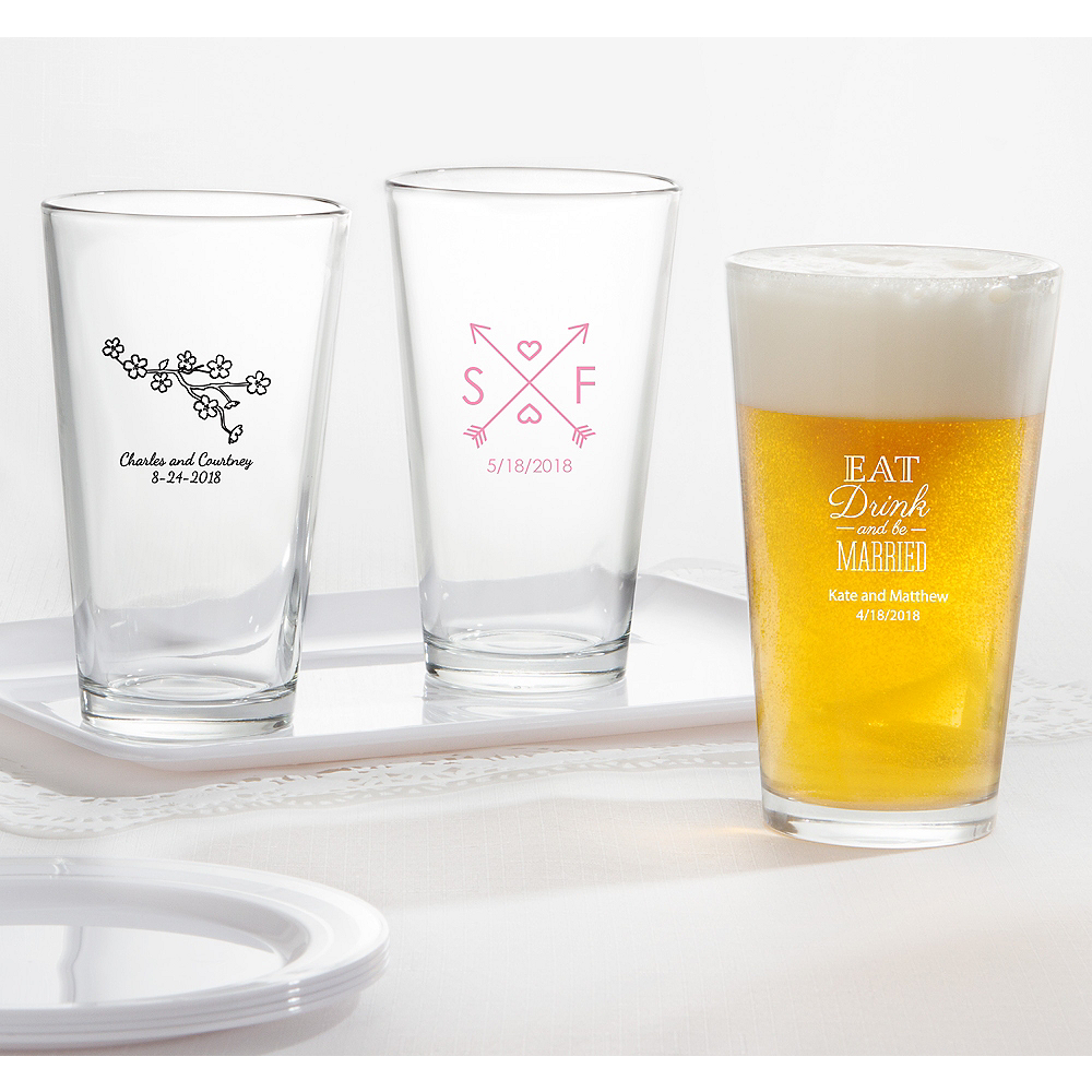 Personalized Wedding Pint Glasses (Printed Glass) Image #1