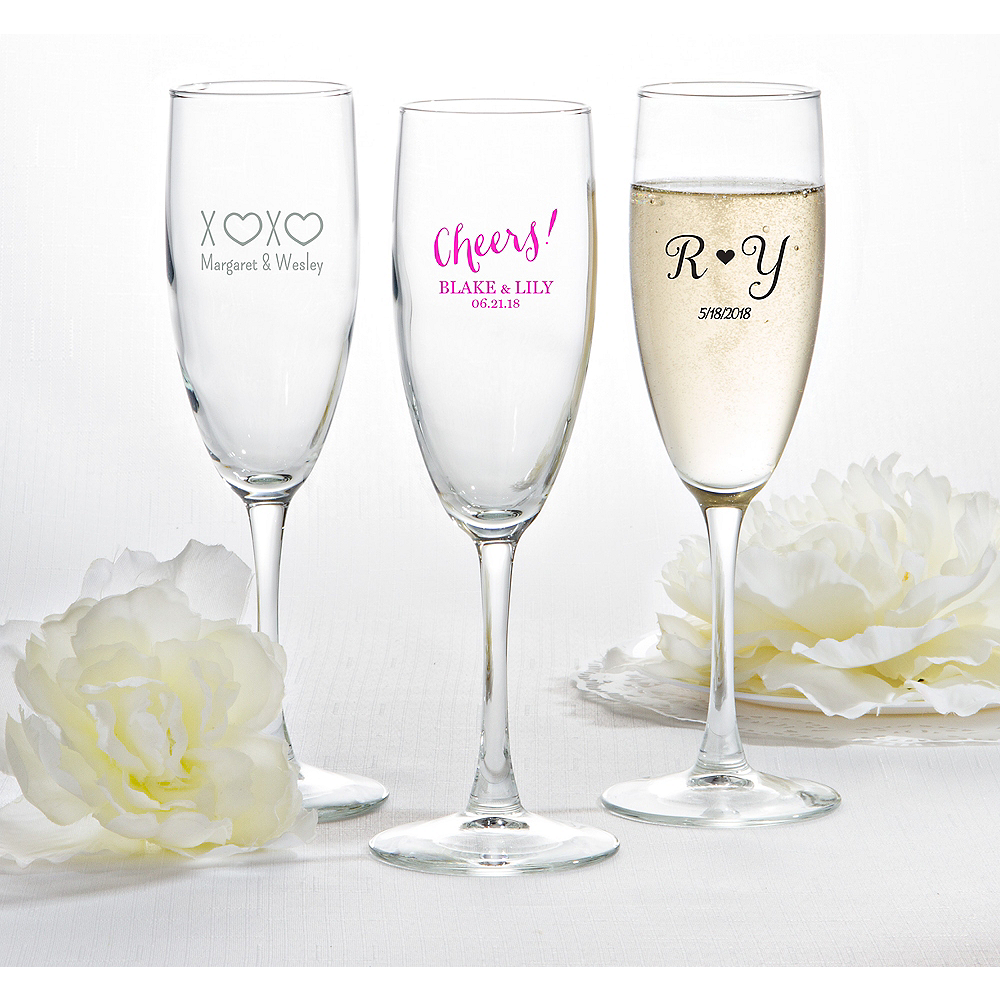 Personalized Wedding Champagne Flutes (Printed Glass) Image #1