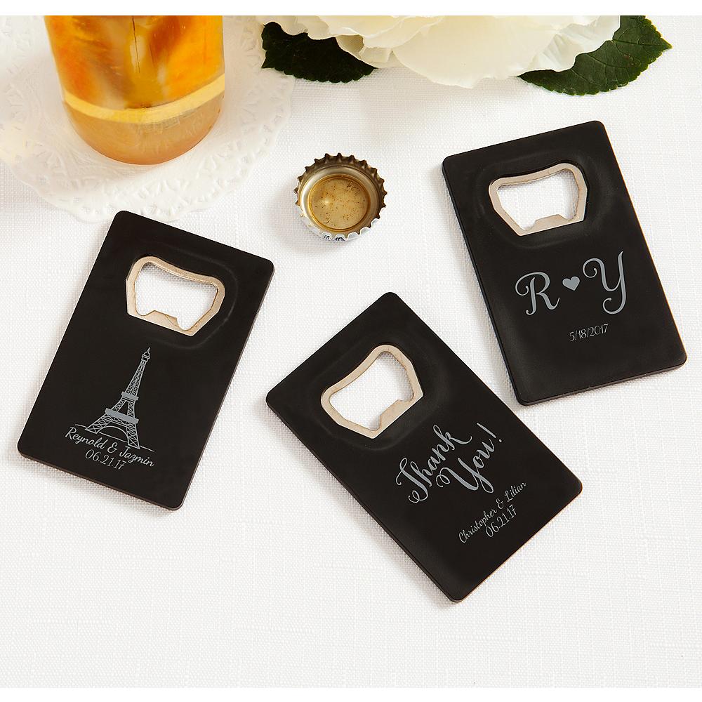 Personalized Wedding Credit Card Bottle Openers - Black (Printed Plastic) Image #1