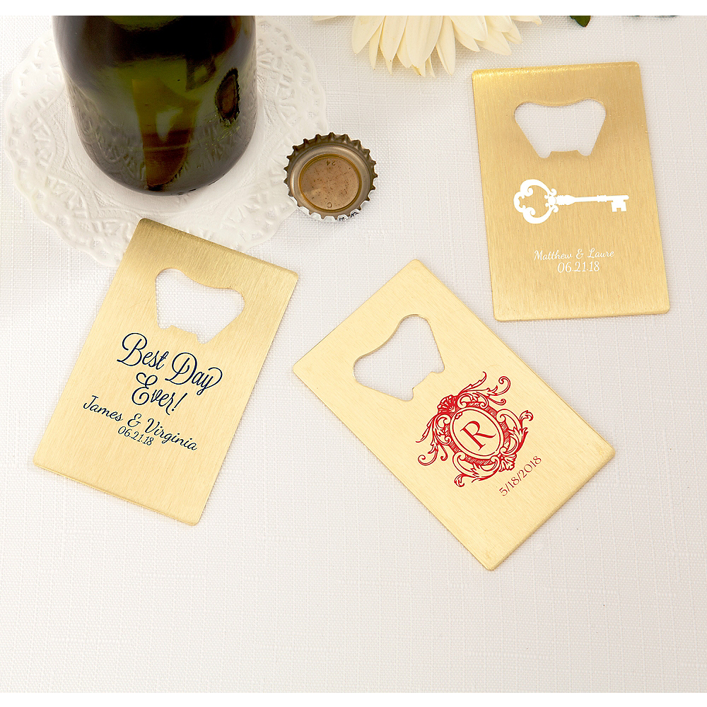 Personalized Wedding Credit Card Bottle Openers - Gold (Printed Metal) Image #1