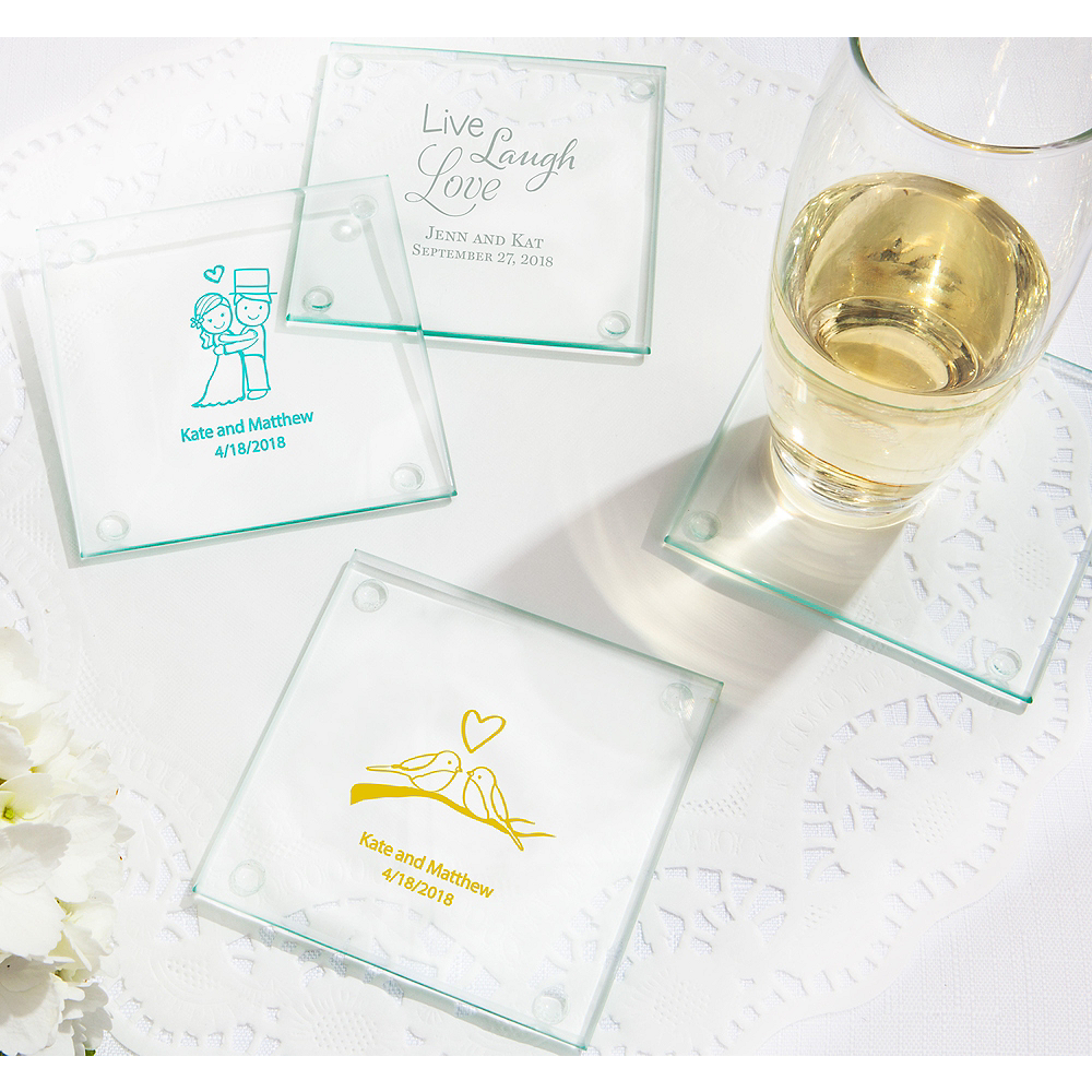 Nav Item for Personalized Wedding Glass Coasters (Printed Glass) Image #1