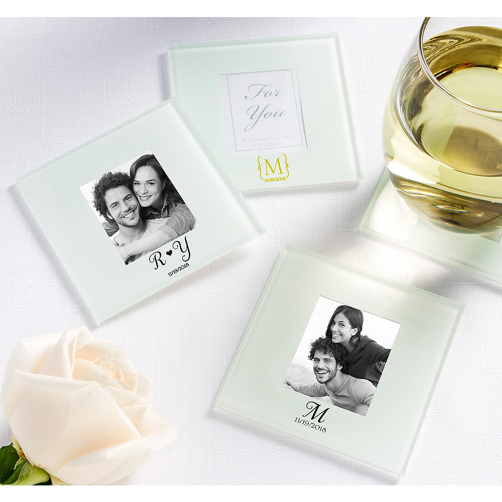 Personalized Wedding Photo Glass Coasters (Printed Glass) Image #1