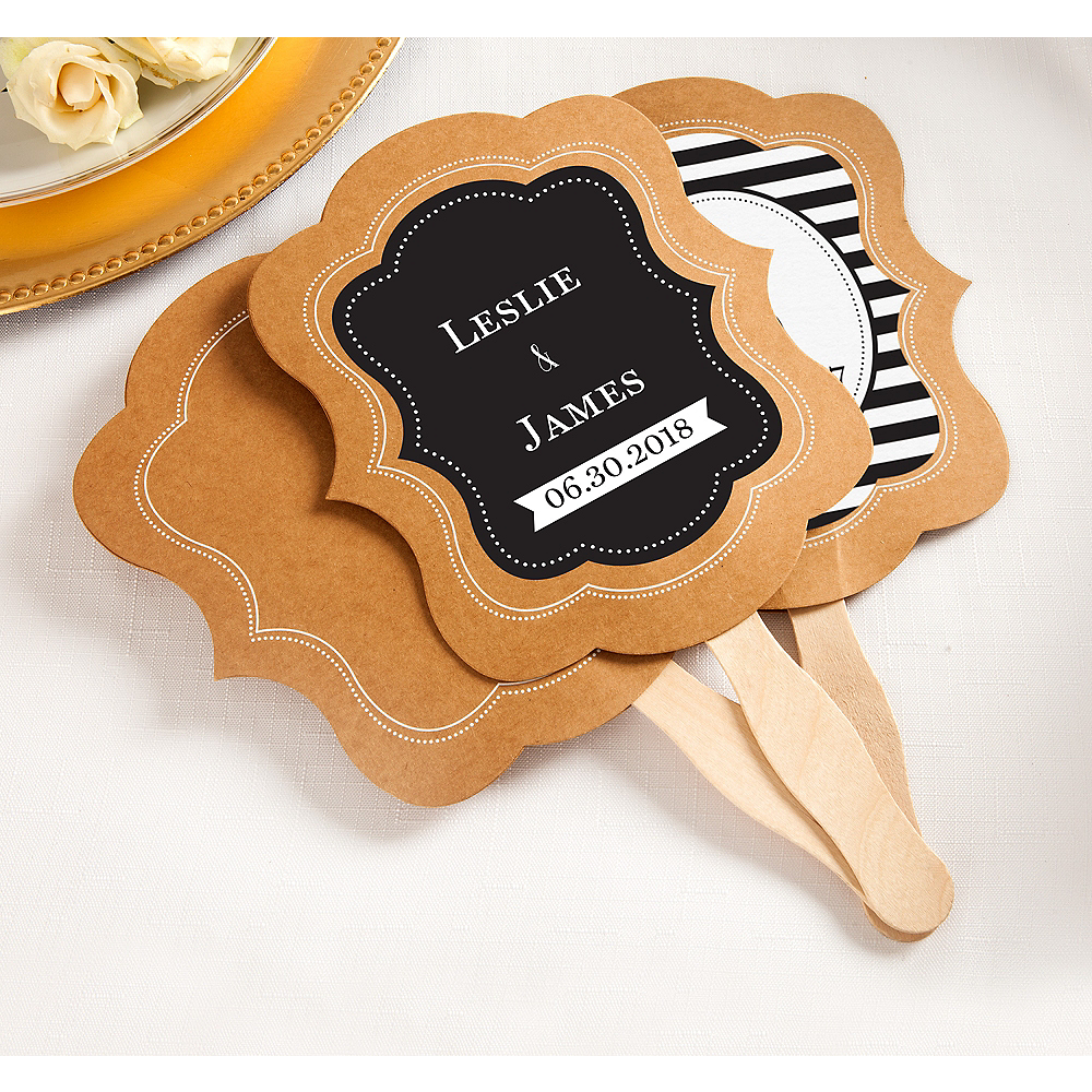 Personalized Wedding Kraft Wedding Fans (Printed Label) Image #1