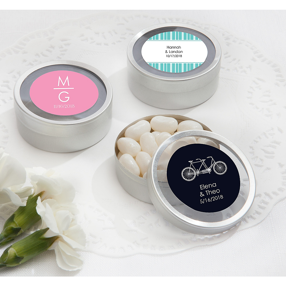 Personalized Wedding Round Candy Tins - Silver (Printed Label) Image #1