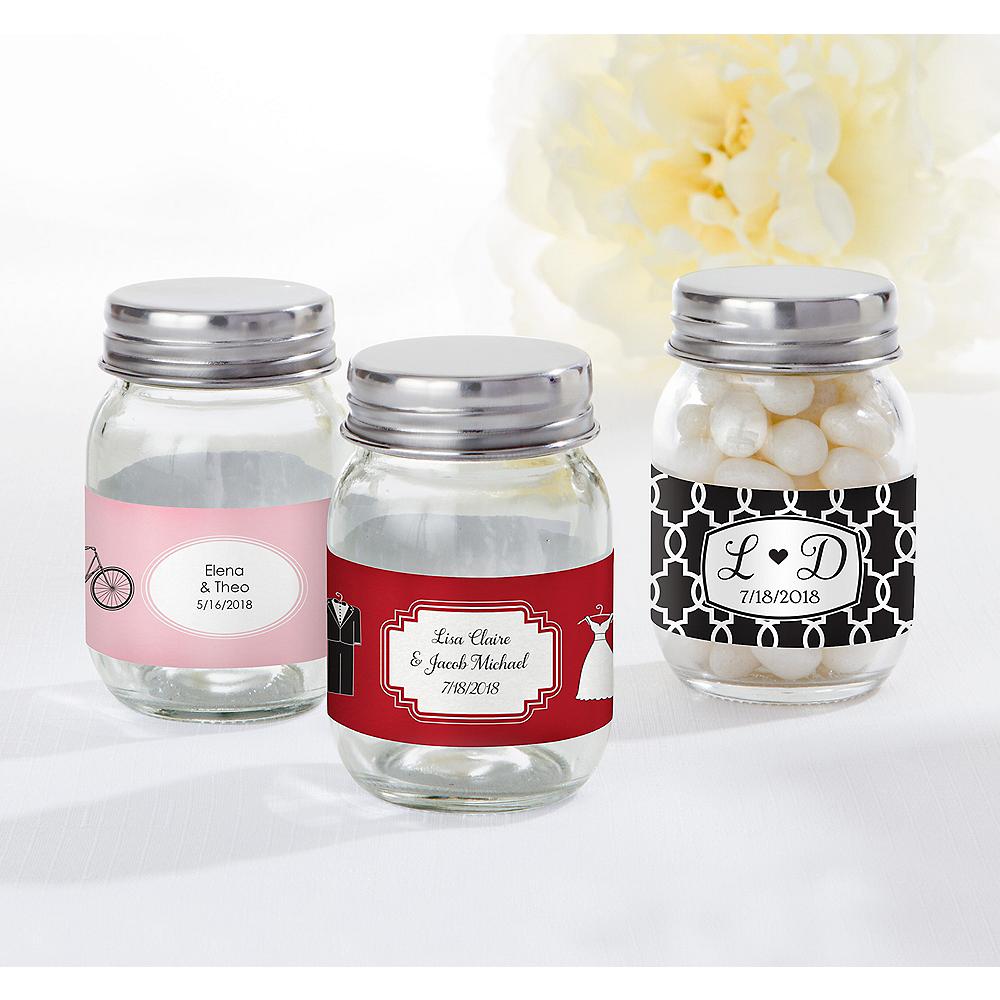 Personalized Wedding Mini Glass Mason Jars (Printed Label) Image #1