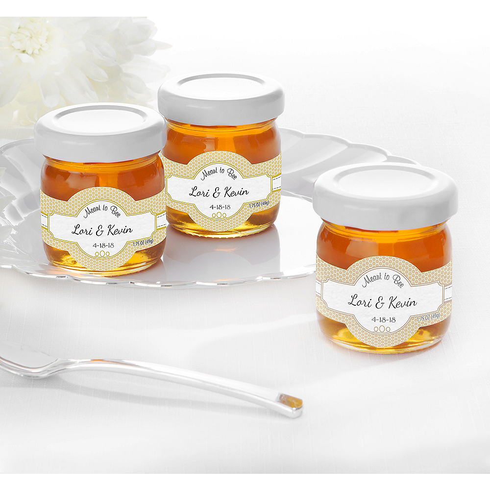 Personalized Wedding Glass Honey Jars (Printed Label) Image #1