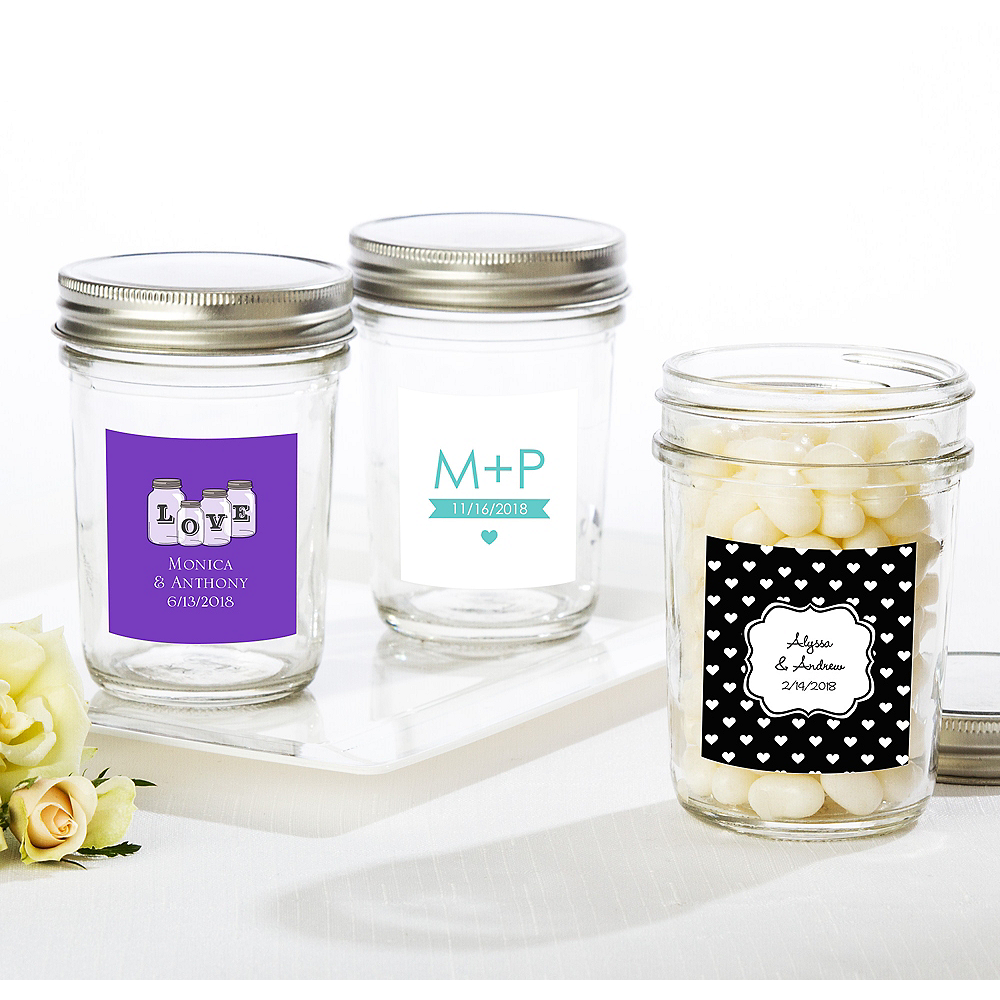 Personalized Wedding Mason Jar with Solid Lid (Printed Label) Image #1