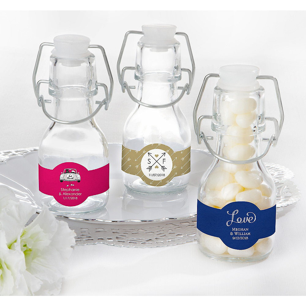 Personalized Wedding Glass Swing Top Bottles (Printed Label) Image #1