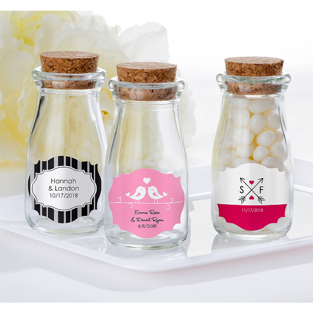 Personalized Wedding Glass Milk Bottles with Corks (Printed Label) Image #1