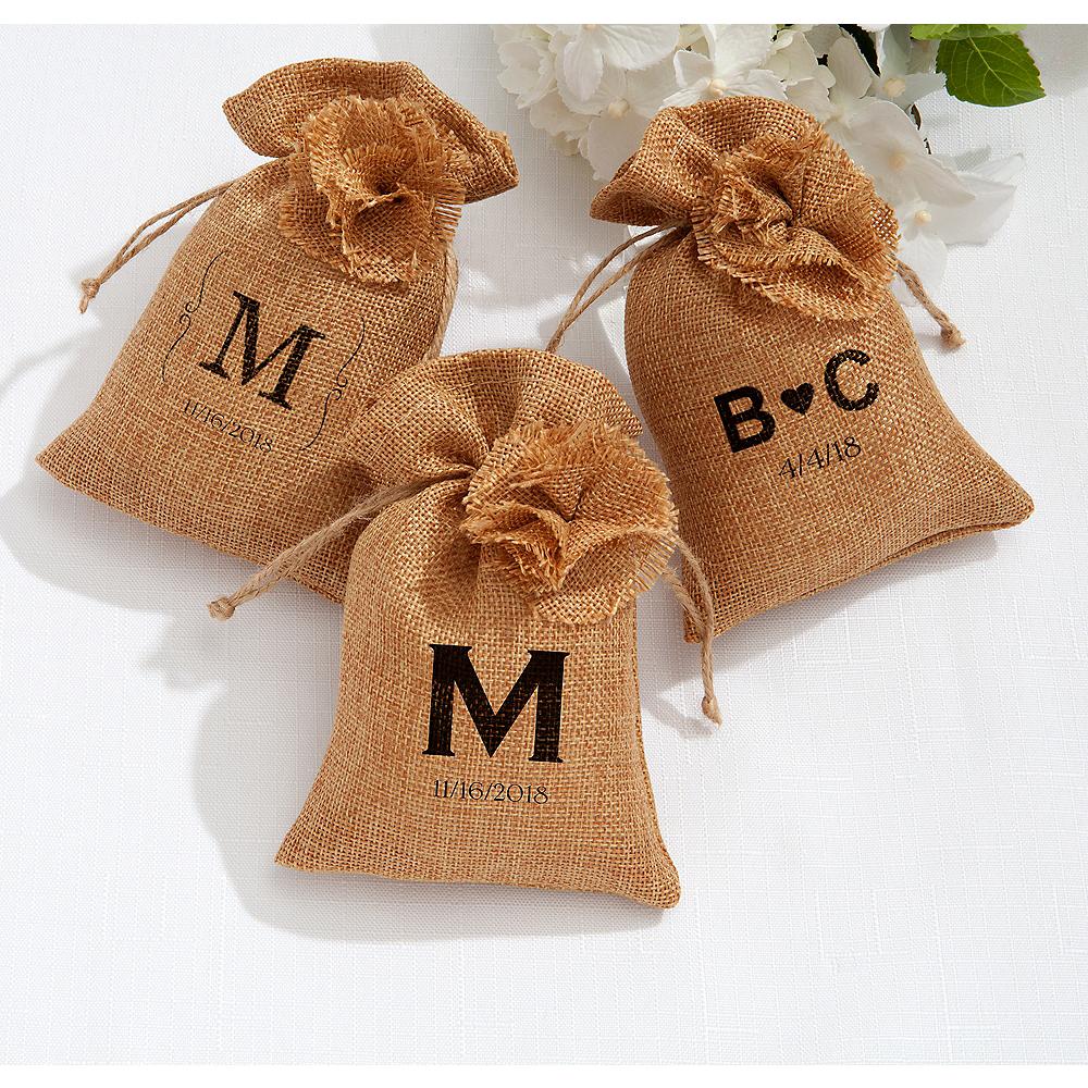 Personalized Wedding Burlap Favor Bags (Printed Fabric) Image #1