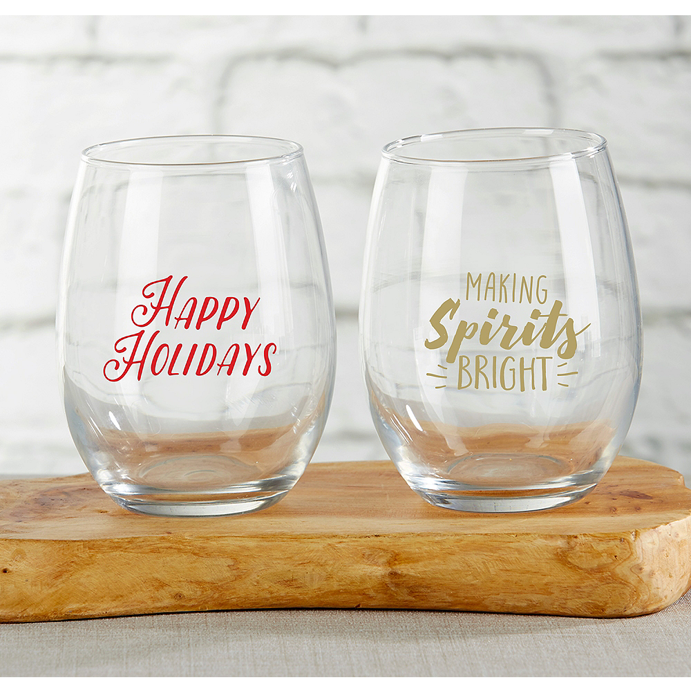 Personalized Holiday Stemless Wine Glasses (Printed Glass) Image #1