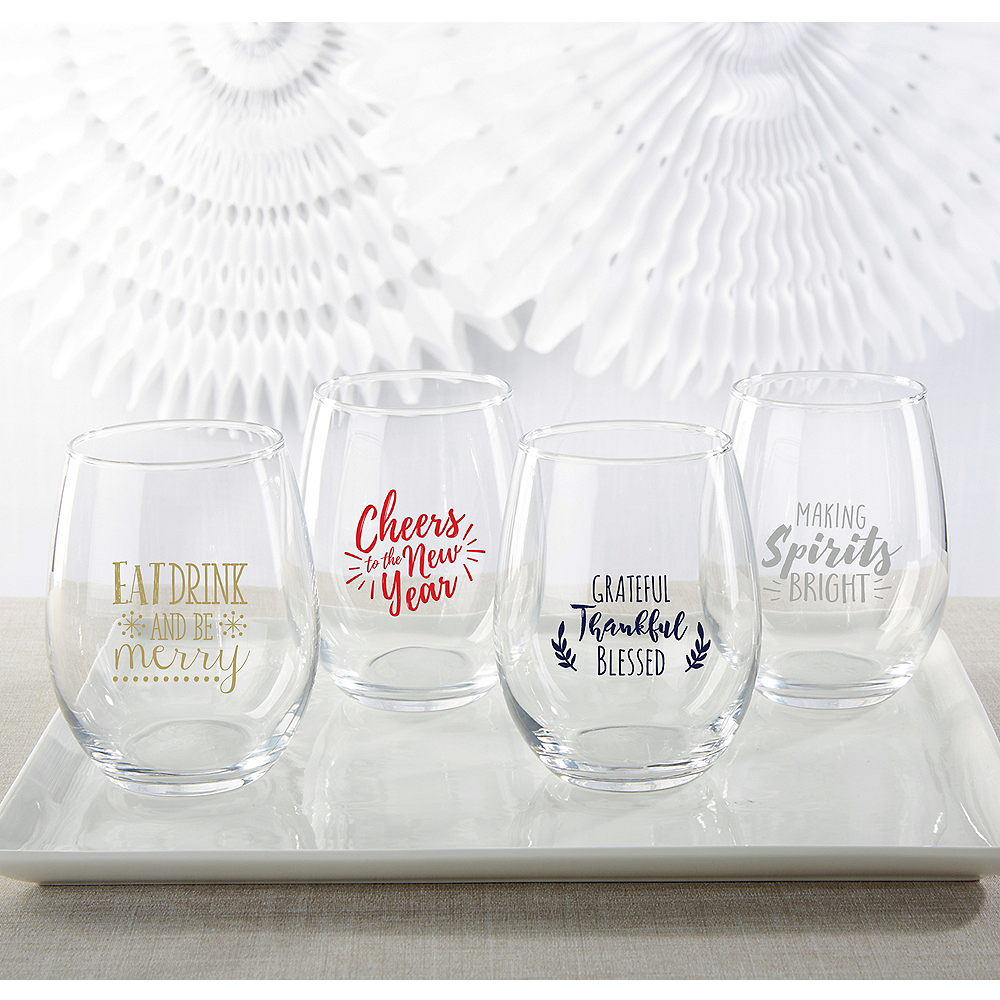 Personalized Holiday Stemless Wine Glasses 15oz (Printed Glass) Image #1