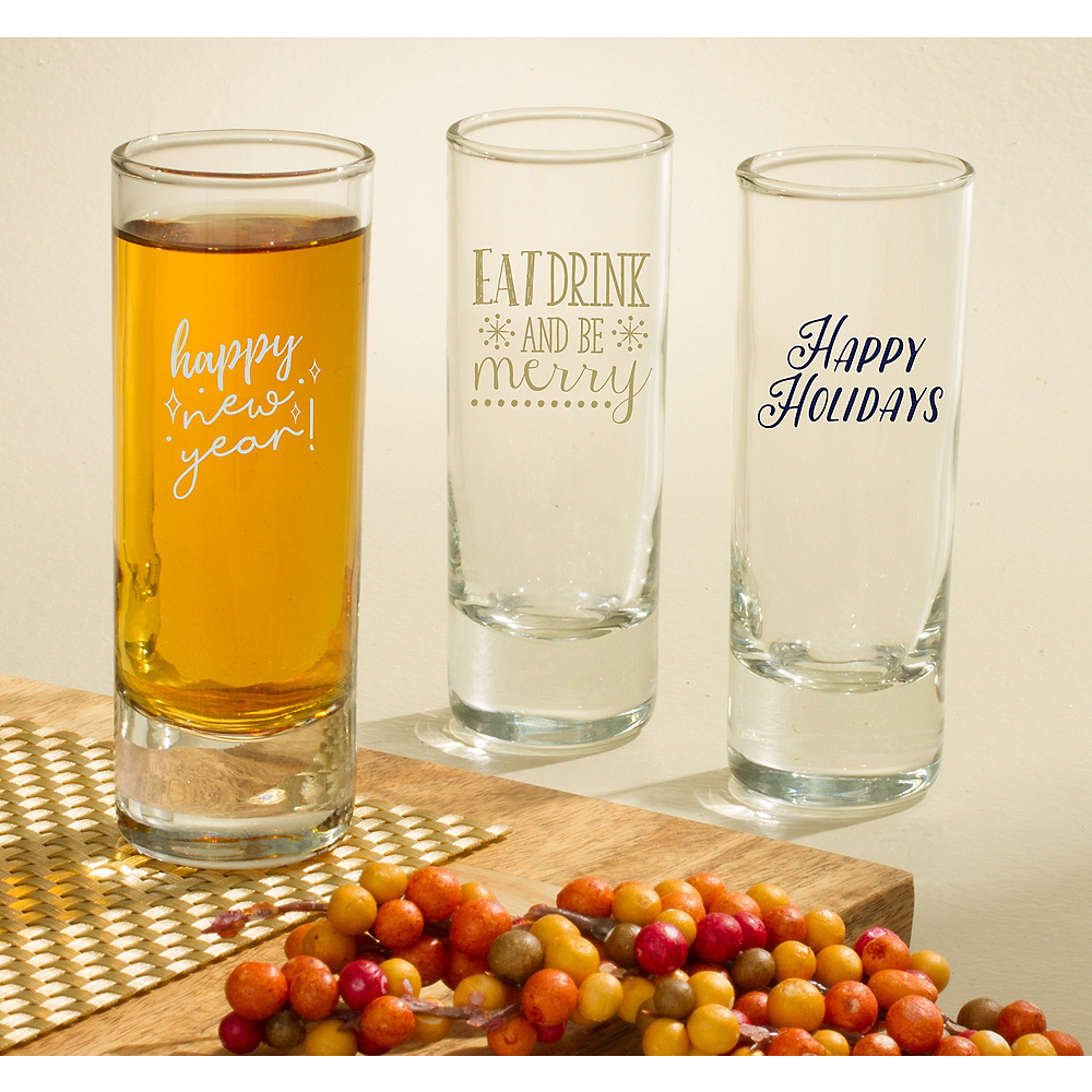 Personalized Holiday Tall Shot Glasses (Printed Glass) Image #1