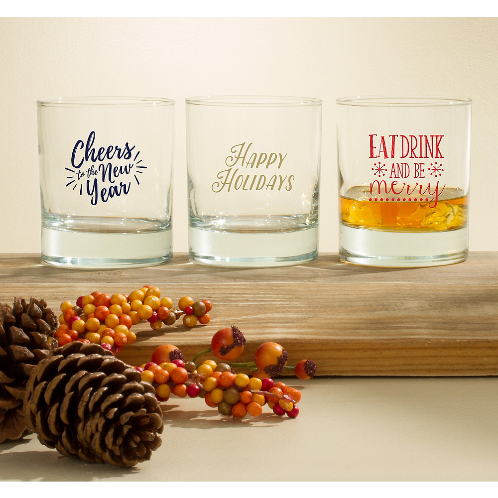Personalized Holiday Rocks Glasses (Printed Glass) Image #1