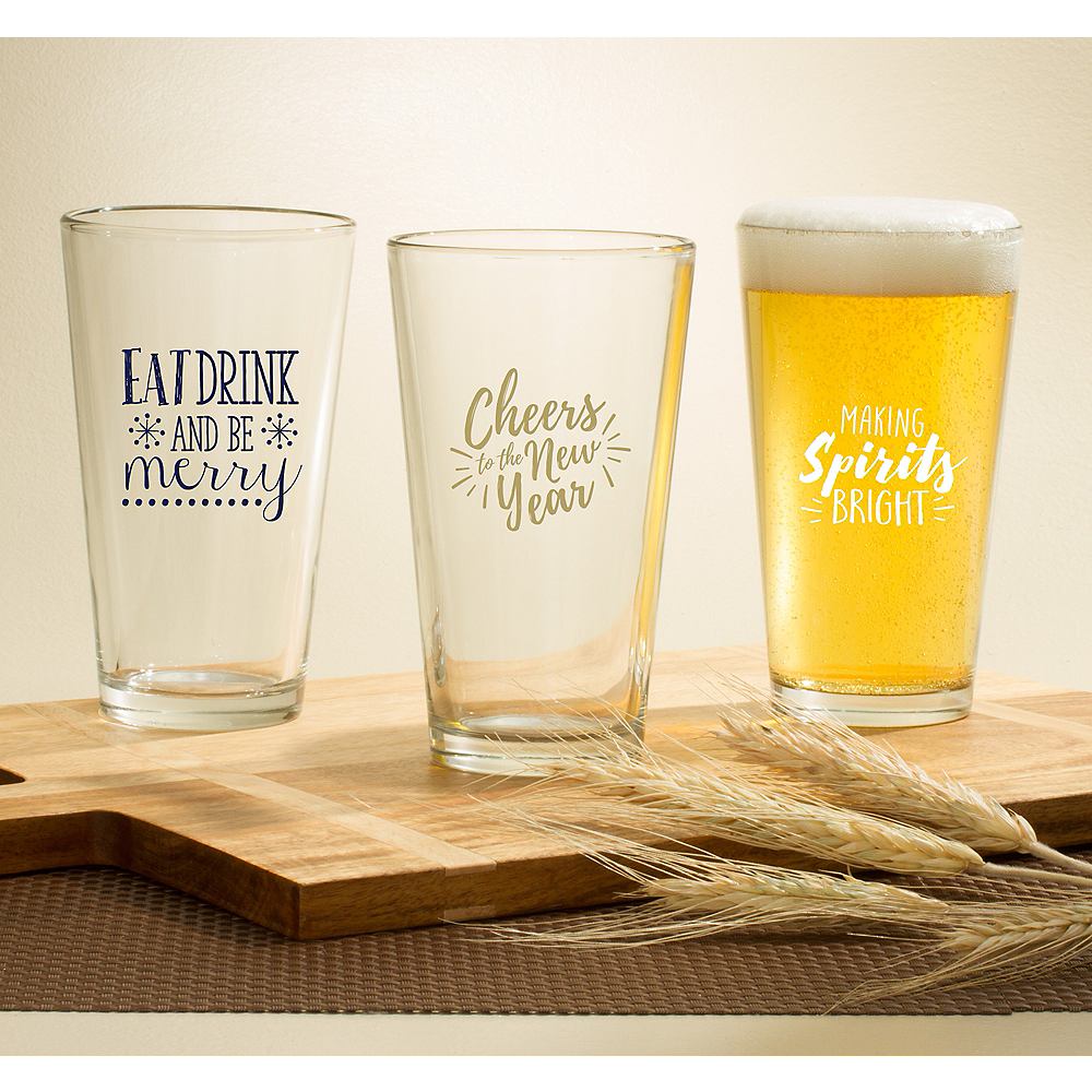 Personalized Holiday Pint Glasses (Printed Glass) Image #1