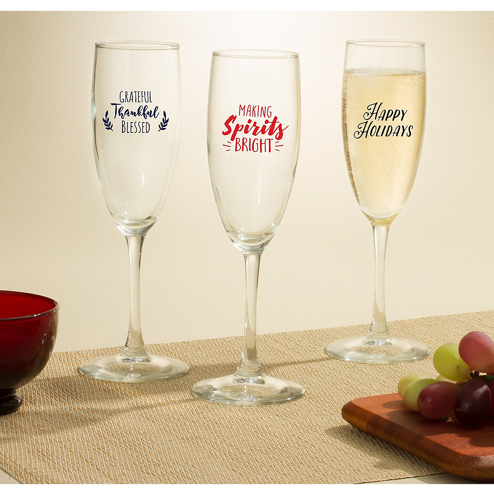 Personalized Holiday Champagne Flutes (Printed Glass) Image #1
