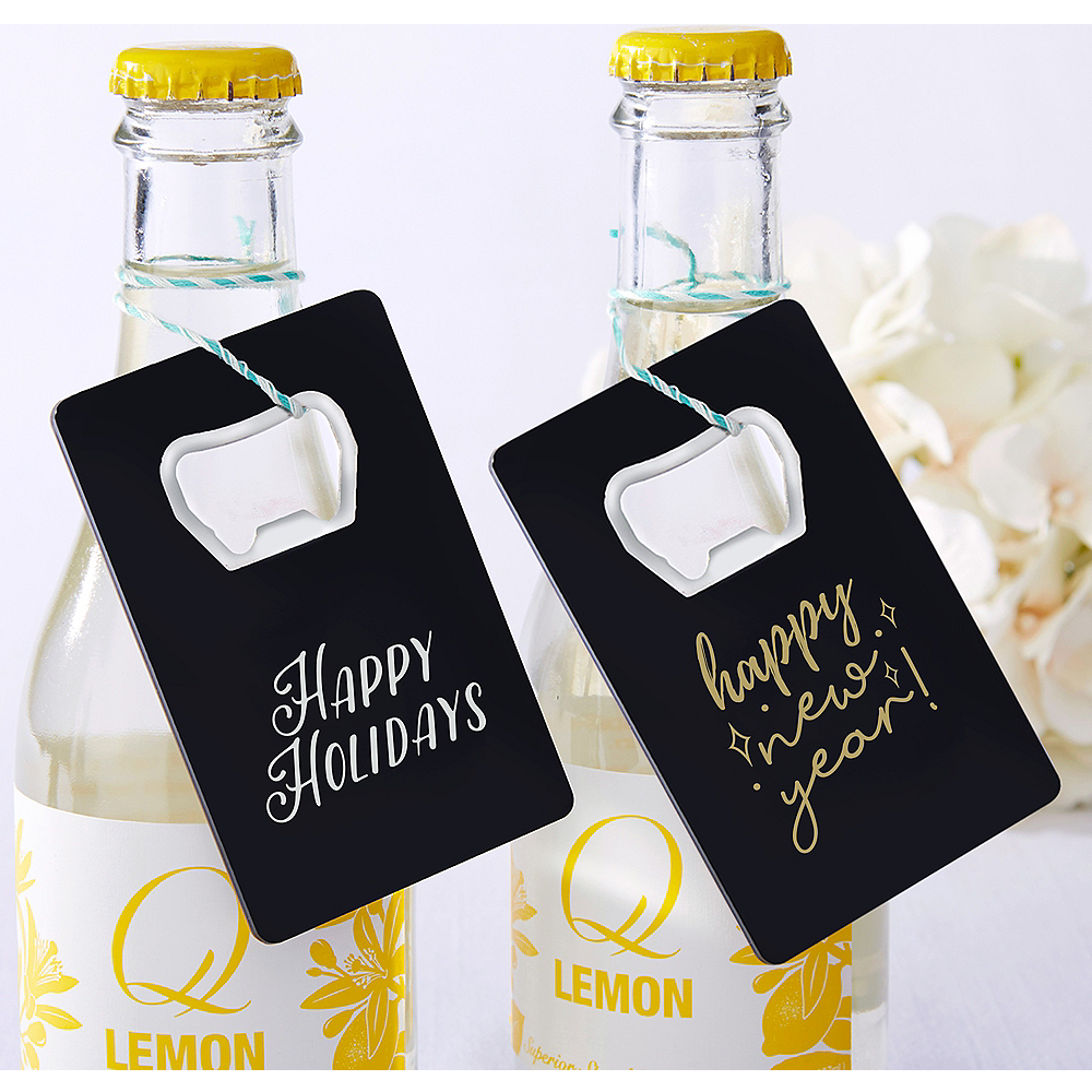 Personalized Holiday Credit Card Bottle Openers - Black (Printed Plastic) Image #1